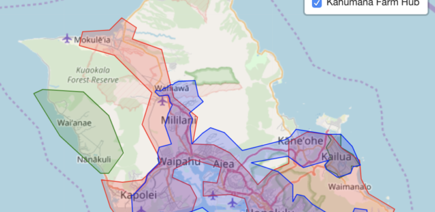 Food Hub Delivery Areas - Oahu